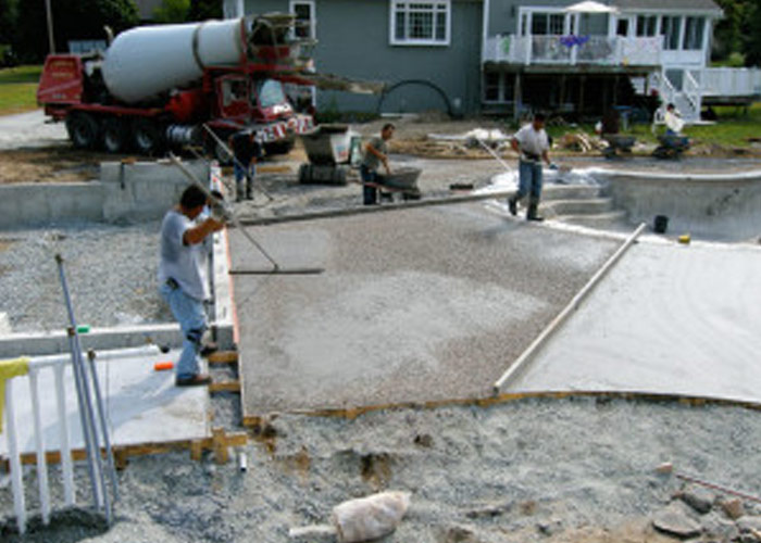 Deck layout and pouring concrete.