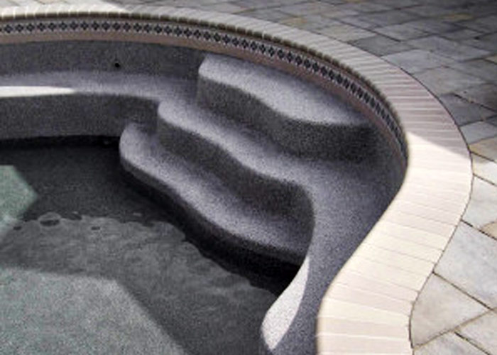 Filling pool with water.