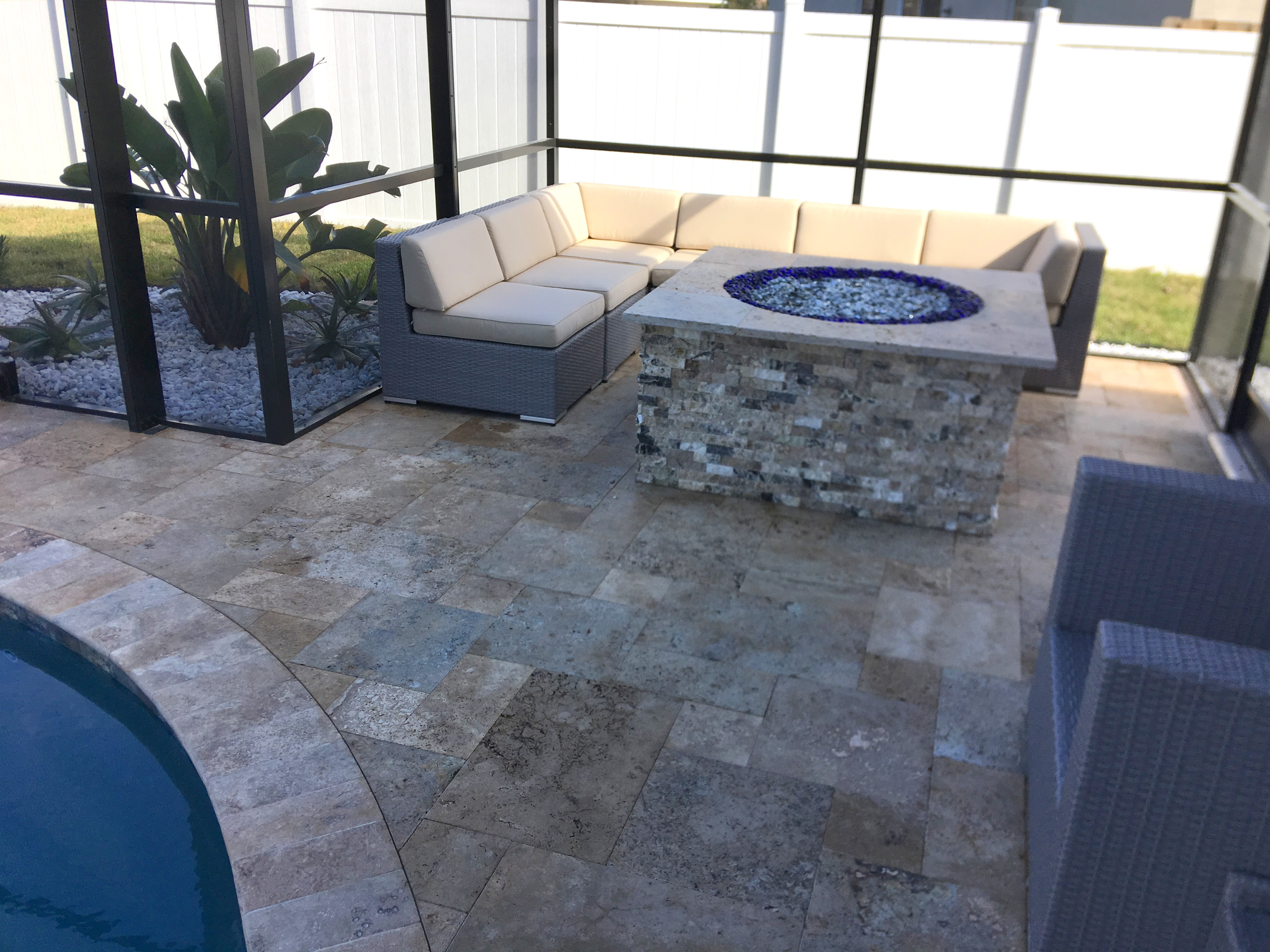 Custom pool and spa with firepit in Palm Coast