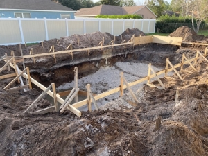 New Smyrna Beach pool excavation and layout