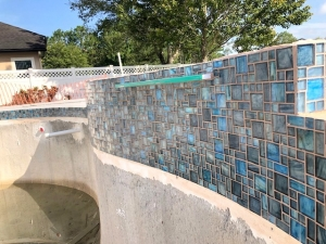 St Augustine pool tiling, coping, and water features